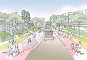 Artist impression of Pegasus Road, Blackbird Leys in 2050