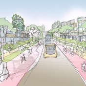 Artist impression of Pegasus Road, Blackbird Leys in 2050