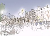 Artist impression of a cultural event in Broad Street in 2050