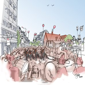 Artist impression of Cowley Road Carnival in 2050