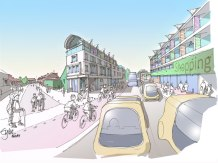 Artist impression of Cowley Road in 2050