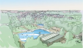 Artist impression of Hinksey Outdoor Pool in 2050