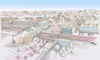 Artist impression of Oxford train station and Botley Road in 2050