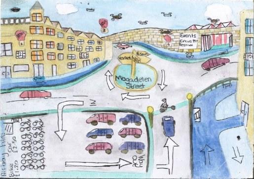 Watercolour of Oxford 2050 street scene
